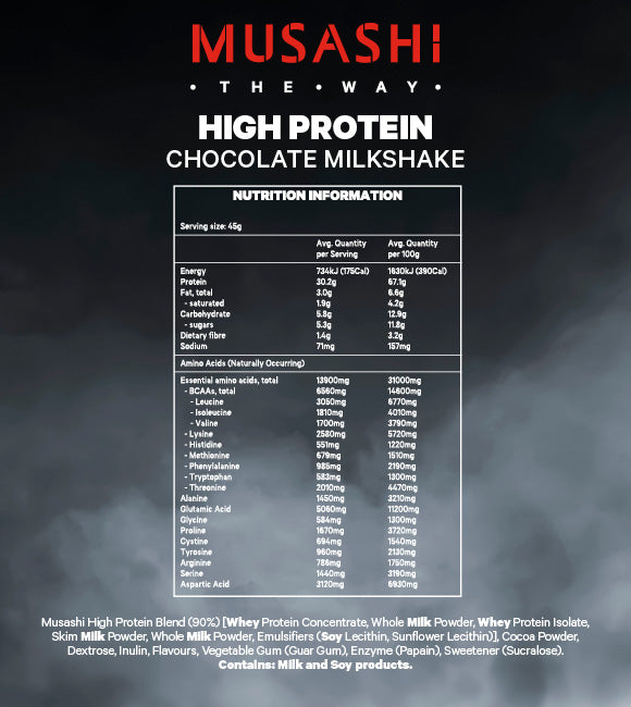 Musashi High Protein Powder Chocolate 900g