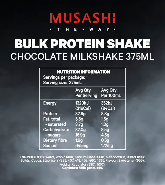Musashi Bulk Protein Shake Chocolate 375ml (Box of 6) - Expiry April 2021