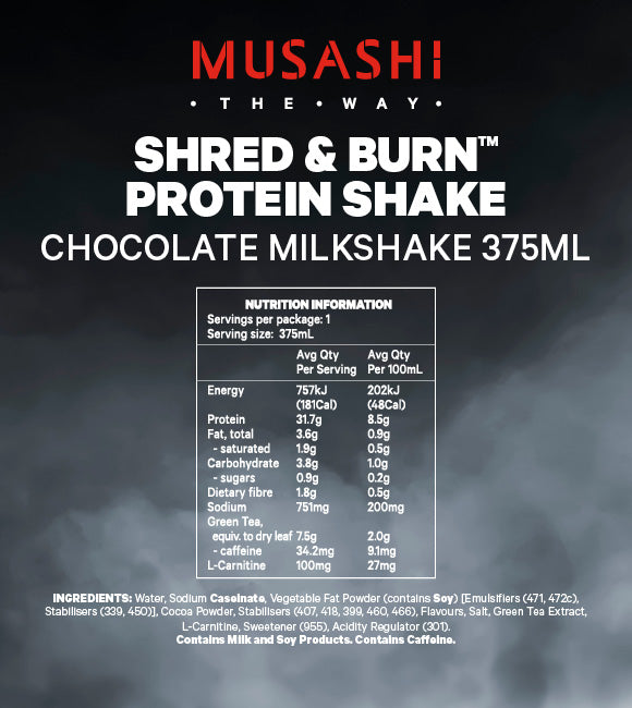 Musashi Shred & Burn Shake Chocolate 375ml (Box of 6)