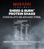 Musashi Shred & Burn Chocolate Shake 375ml (Box of 6)