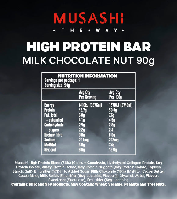 Musashi High Protein Bar Milk Choc Nut 90g (Box of 12)