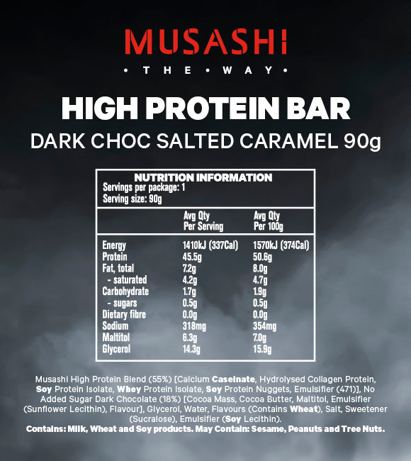 Musashi High Protein Bar Dark Choc Salted Caramel 90g (Box of 12)