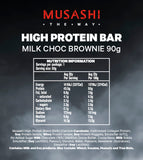 Musashi High Protein Bar Milk Choc Brownie 90g (Box of 12)
