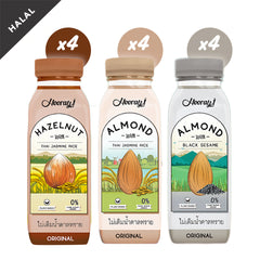 Hooray! Vegan Almond Milk and Hazelnut Milk Assorted 4 Bottles X 3 Flavours 250ml (Combo Box of 12)