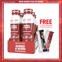 Musashi Shred & Burn Shake 375ml (Box of 6) + 2 FREE Bars