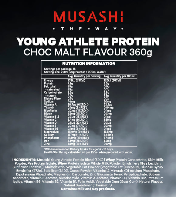 Musashi Young Athlete Protein Powder Vanilla 360g