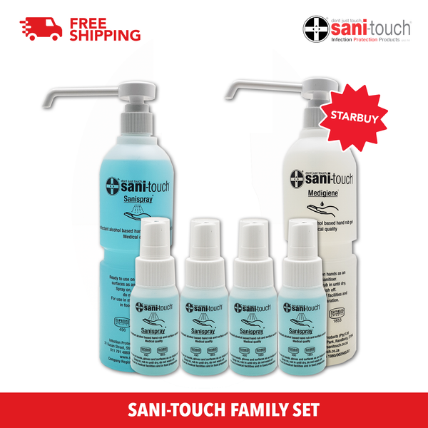 SANI-TOUCH Family Set *80% Alcohol *Kill 99.99% germs in 5sec *Gentle on skin *Non-sticky *Food Grade *Fragrance Free (SINGAPORE ONLY)