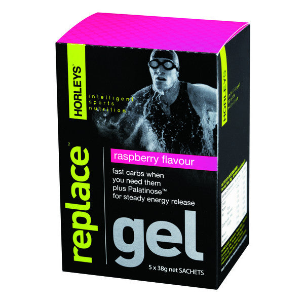 Horleys Replace Energy Gel Raspberry 38g (Box of 5 x 38g) (Expire on Oct 2020)