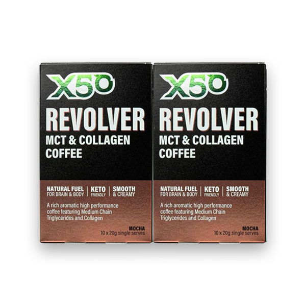 X50 Revolver MCT & Collagen Coffee Mocha 20g (Box of 10) Twin Pack