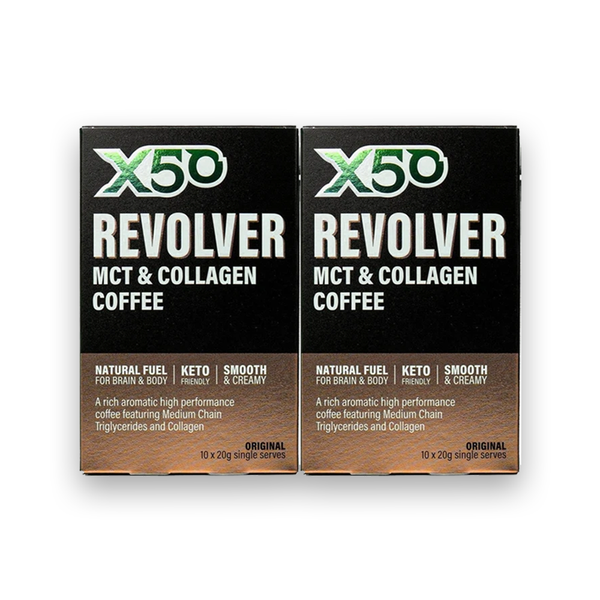 X50 Revolver MCT & Collagen Coffee Original 20g (Box of 10) Twin Pack