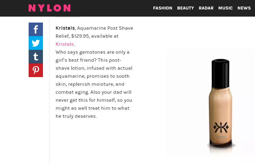 Aquamarine Post Shave Relief from Kristals Cosmetics Featured in NYLON