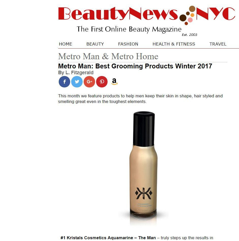 Kristals Cosmetics Featured in Beauty News NYC's Best Grooming Products