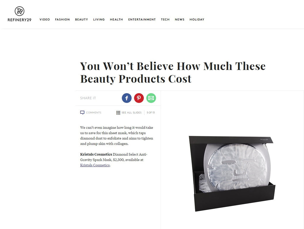 Kristals Cosmetics Featured in Refinery29