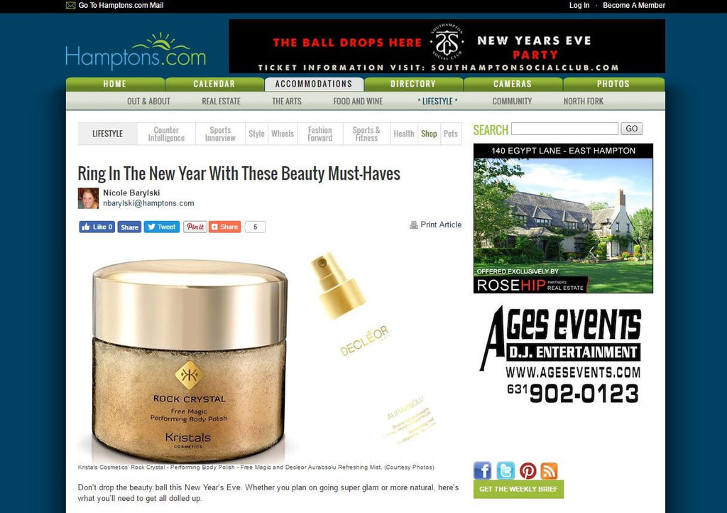 Kristals Cosmetics Rock Crystal Performing Body Polish Featured on Hamptons.com