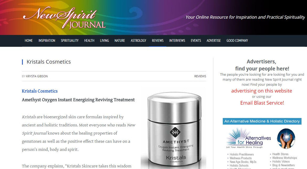 New Spirit Journal Reviews Amethyst Skincare from Kristals Cosmetics