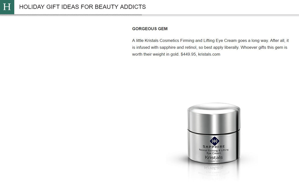 Sapphire Eye Cream from Kristals Cosmetics featured in the Huffington Post