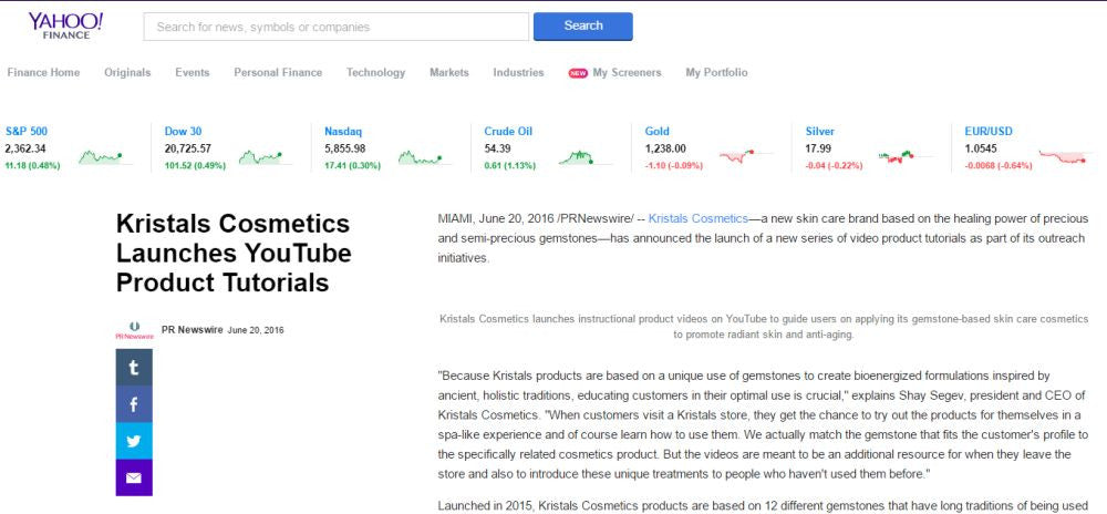 Yahoo! Finance Announces Kristals Cosmetics YouTube Launch