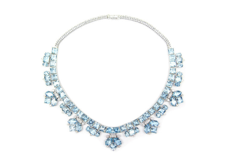 aqua halo diamond necklace slide pendants with pendant marine aquamarine cushion