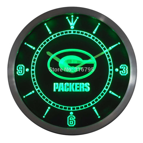 Green Bay Packers LED Neon Wall Clock