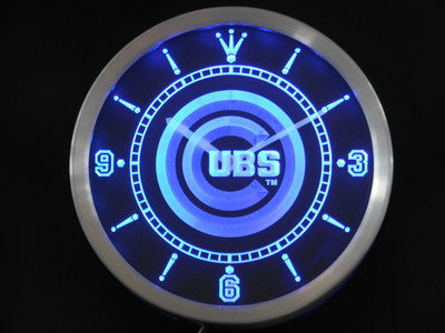 Chicago Cubs LED Neon Wall Clock