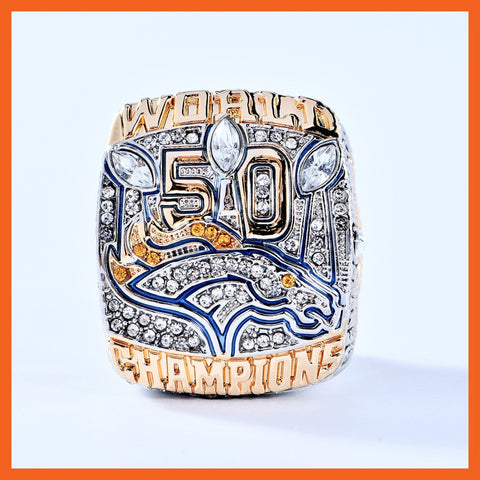 "2015 Denver Broncos Super Bowl 50 World ""Miller"" Engraved Championship Fan Ring"