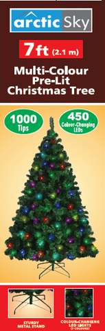 ARCTIC SKY 7' 1000 Tip 450LED Multicolor Christmas Tree