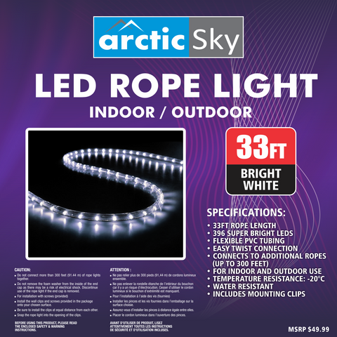 Arctic sky 33 led rope light bright white gravitti canada arctic sky 33 led rope light bright white aloadofball Gallery
