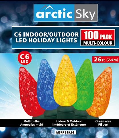 ARCTIC SKY 100 Multicolor C6 Indoor/Outdoor Christmas Lights