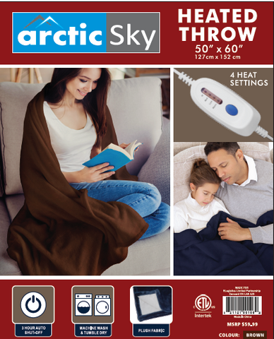 Arctic Sky Heated Throw- Blue, Beige, Brown