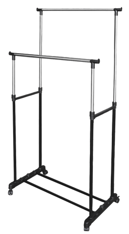 "Double Garment Rack 32"" x 16.5"" x 66"""
