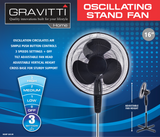 "Gravitti 16"" 3 Speed Oscillating Stand Fan - Black"