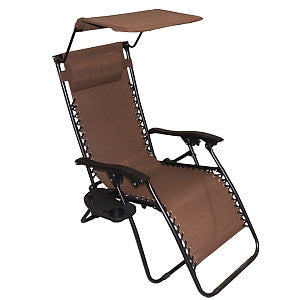 Gravitti Zero Gravity Chair With Canopy & Side Table-Brown