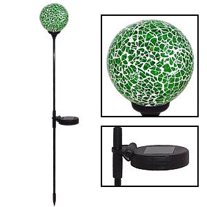 Gravitti Mosaic Crackle Glass Ball Solar Stake Light - Green.