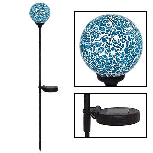Gravitti Mosaic Crackle Glass Ball Solar Stake Light Blue
