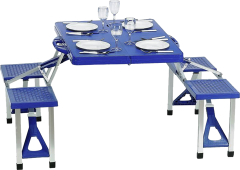 Portable 4 Seat Folding Picnic Table - Blue