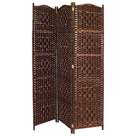 "Gravitti 3 Panel Bamboo Room Divider Brown-17.7"" X 70.9"""