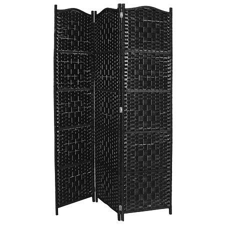"Gravitti 3 Panel Bamboo Room Divider Black-17.7"" X 70.9"""