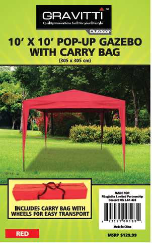 GRAVITTI OUTDOOR 10 X 10 POP UP GAZEBO W/CARRYING CASE- RED
