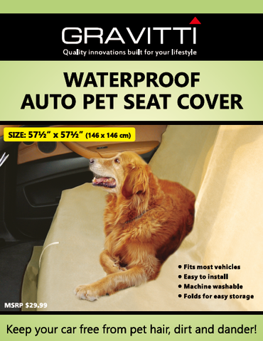 Gravitti Waterproof Universal Auto Car Seat Cover For Pets