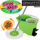 Gravitti Spin Mop Ultra W/Foot Pedal & Replacement Mop Head