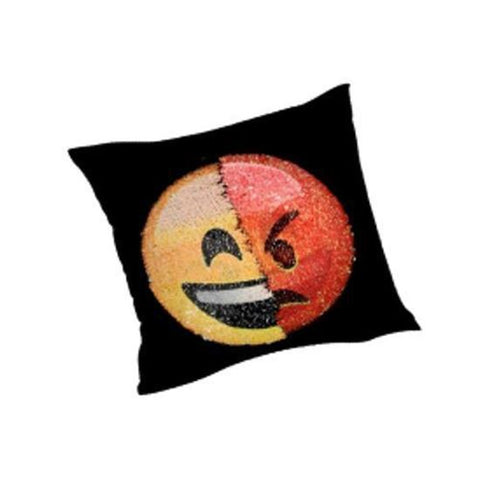 "GRAVITTI 15""X15"" EMOJI SEQUIN PILLOW- ANGRY/ HAPPY"