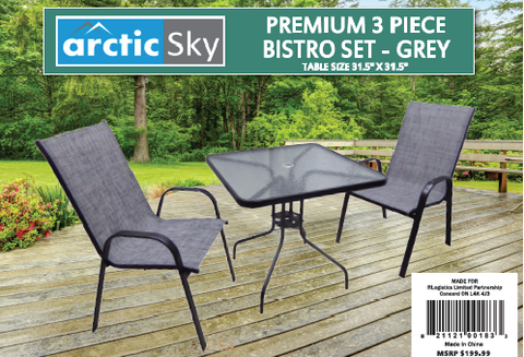 Arctic Sky Premium 3pc Bistro Set - Grey