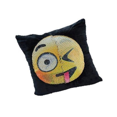 "GRAVITTI 15""X15"" EMOJI SEQUIN PILLOW-EMBARRASSED/ TONGUE-OUT"