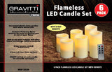 "Gravitti Flameless LED Ivory Candles-4"",5"",6"" X2"