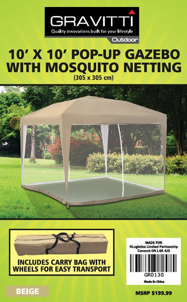 Gravitti Outdoor 10 X 10 Pop Up Gazebo With Mosquito