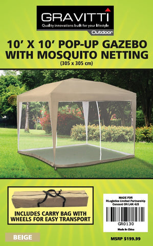 Gravitti Outdoor 10 X 10 Pop Up Gazebo With Mosquito Netting