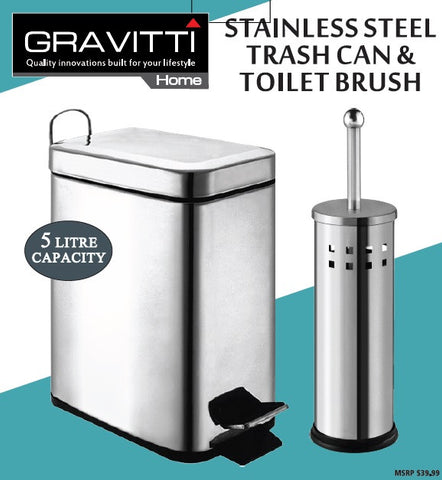 Gravitti Stainless Steel 5L Trash Can & Toilet Brush