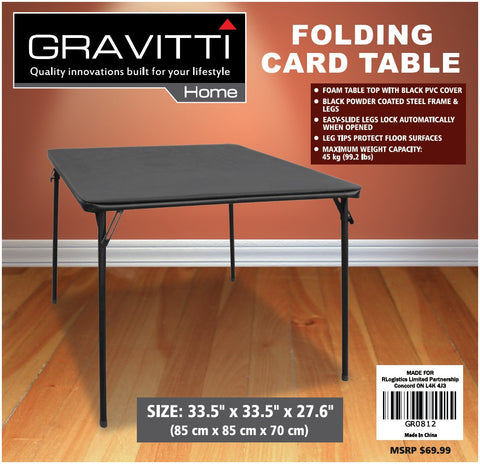 Gravitti Folding Card Table- 85X85X70CM