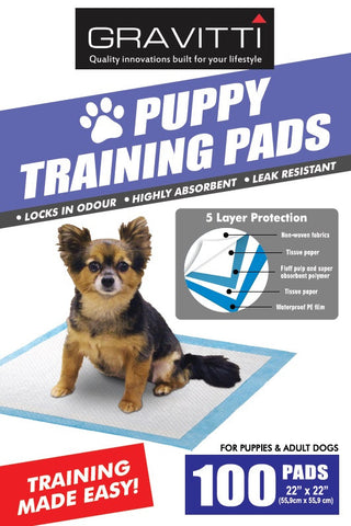 "Gravitti Puppy Training Pads 22""X22""-100Pk"