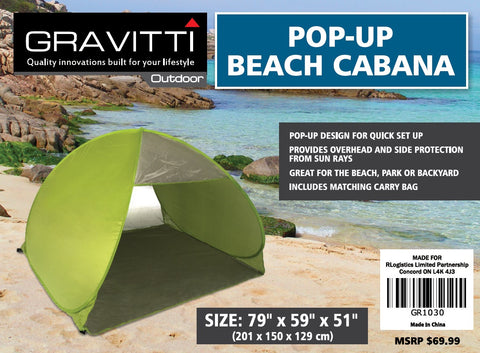 "Gravitti Pop Up Beach Cabana 79"" X 59"" X 51"""